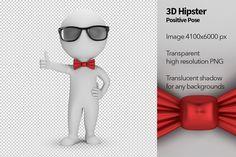 3D Hipster - Positive Pose by Anatoly Maslennikov on @creativemarket