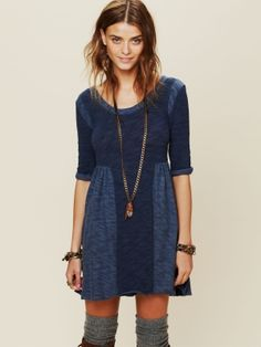 FP Beach Good Morning Sunshine Dress at Free People - Denim M $88.0 by Hobbyhorse