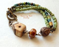 Home Sweet Home Beaded Bracelet with Ceramic House by Bantering Bird Jewelry