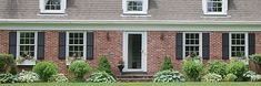 window boxes and shutters on a dutch colonial house Window Shutters Exterior, Black Shutters, Exterior Stairs, Exterior Cladding, Exterior Doors, Window Awnings, Exterior House Colors Combinations, Exterior Paint Colors For House, Red Door House