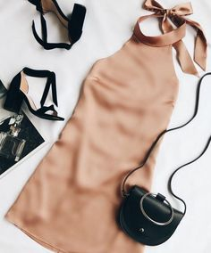 The One Day Light Brown Satin Halter Swing Dress will make every day special! Shiny satin halter dress with a backless, swing silhouette. Mode Outfits, Casual Outfits, Fashion Outfits, Womens Fashion, Style Fashion, Fashion Ideas, Teen Fashion, Woman Outfits, Fashion Pics