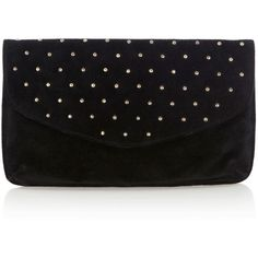 OASIS Suede Stud Clutch Bag ($37) ❤ liked on Polyvore featuring bags, handbags, clutches, purses, bolsas, accessories, oasis handbags, flap purse, hand bags and suede handbags