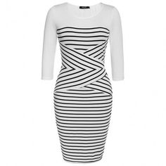 Fashion Women Casual O-neck 3/4 Sleeve Patchwork Striped Bodycon Dress