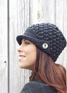 Handmade Crochet Ladies Hat with Button,  baker boy, warm, ladies, boho, trendy, stylish