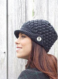 Handmade Crochet Ladies Hat with Button,  baker boy, warm, ladies, boho, trendy, stylish