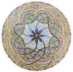 Glass mosaic mandala SpectraLock dazzle grout 24k gold swirl .............. holey moley!