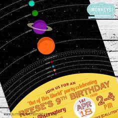 Retro Solar System Birthday Invitation by 3LittleMonkeysStudio on Etsy https://www.etsy.com/listing/226100263/retro-solar-system-birthday-invitation