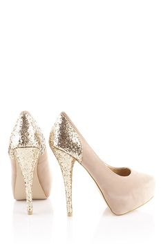 Nude Glitter High Heels.. feeling guilty that I love these, glitter and all!