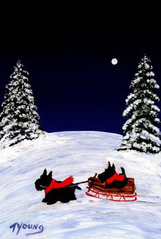 Scottie Dog Winter Folk Art print of Todd Young by ToddYoungArt