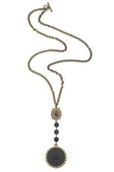 """$256.00 USD  32"""" antiqued brass-clad single cable chain with vintage FDL fob, black jasper drop and matte black petite bezel with Rex medallion by French Kande"""