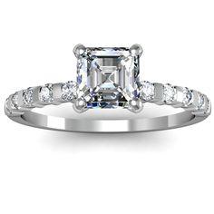 Very Unique Diamond Rings | Asscher Cut Bar Set Diamond Engagement Ring
