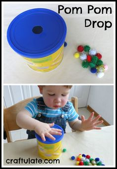 This pom pom drop is a simple toddler toy that will keep them occupied! Uses an upcycled container and pom poms.