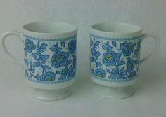 Vtg coffee mugs Pedestal Japan Blue & Yellow Flowers White Retro Kitchen…