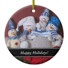 Snow Family with greeting ornament