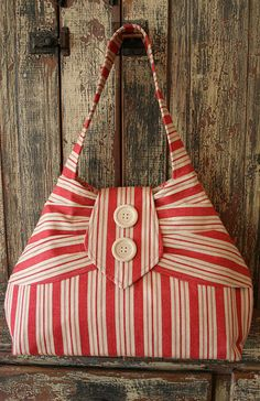 cute red stripe bag