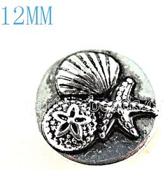 Silver Sea Shell Star Fish 12mm Mini Petite Snap Charm For Ginger Snaps Jewelry #Handmade #Interchangeable