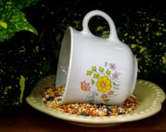 Hanging Teacup Birdfeeder--Summer Wildflowers-Reclycled Garden Ideas