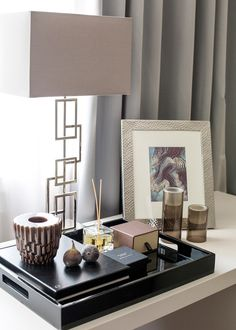 soft neutral tones | occasional table or dressing table display