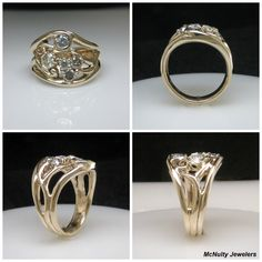 This gorgeous yellow gold and diamond ring was made with heirloom diamonds for our client's 40th anniversary. McNulty Jewelers