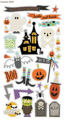Simple Stories Frankie and Friends Chipboard Halloween Scrapbook Stickers . Bonbon Halloween, Art Halloween, Halloween Clipart, Halloween Stickers, Halloween Cards, Happy Halloween, Halloween Decorations, Halloween Labels, Halloween Scrapbook