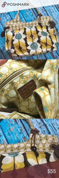 Fossil Large Floral Purse Handbag Coated Canvas Some wear on the key, otherwise excellent condition. Thank you! Fossil Bags Shoulder Bags