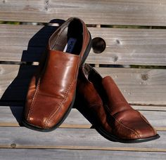 7ab4501c27c Reserve for Andres  Vintage Leather Shoes. Men s Vintage Brown Leather Slip  On Shoes 10.5 M