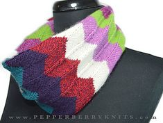 The Lila Cowl is a lovely little accessory worked in the round in a chevron pattern.