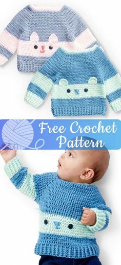 These free crochet baby sweater patterns look great worked up in Bernat Softee B. These free crochet baby sweater patterns look great worked up in Bernat Softee Baby! With this yarn Crochet Baby Sweater Pattern, Crochet Baby Sweaters, Baby Sweater Patterns, Crochet Amigurumi Free Patterns, Crochet Baby Clothes, Baby Patterns, Crochet Stitches, Baby Knitting, Sewing Patterns