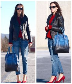 Inject a splash of red with matching heels and jumper like Veronica P featuring Diesel bag, Pennsylvania #SuccessfullyStyled www.diesel.com/female