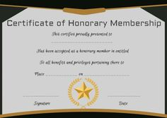 Free Honorary Life Membership Certificate Template Templates Certificates Choir Knitting