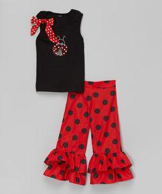Red & Black Ladybug Tank & Ruffle Pants - Toddler & Girls by So Girly & Twirly #zulily #zulilyfinds