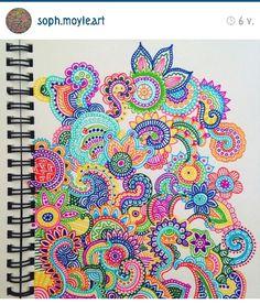 From Instagram Dibujos Zentangle Art, Zentangle Drawings, Zentangle Patterns, Art Drawings, Zentangles, Flower Drawings, Doodle Patterns, Mandala Doodle, Mandala Drawing