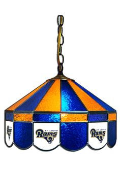 "St. Louis Rams Pub Light- 16"" Stained Glass Hanging Light"
