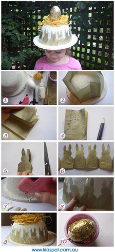 Easter Bonnet instructions - store bought hat, tissue paper, foam egg raffia