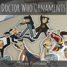 DY Doctor Who Christmas ornaments | Printable Doctors 1-11 (no 8.5 or 12) to cut out and hang on the tree. These are amazing!