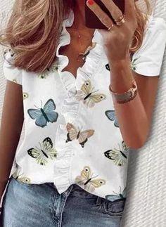 Shirts & Tops, Shirt Blouses, Basic Tops, White V Necks, Printed Blouse, Casual Tops, Blouses For Women, Ideias Fashion, Lingerie