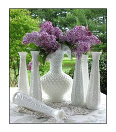Vintage Milk Glass Vase Collection of Thirteen by ShiftingYears, $80.00