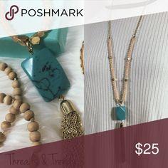 Dainty Turquoise Pendant Necklace Gorgeous dainty necklace featuring turquoise Pendant and chain Tassel. Chain drop 15 Chain drop + pendant 20 Jewelry Necklaces