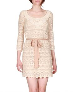 cream lace and beige bow belt