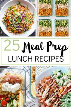 Did you set a goal to meal prep your lunches each week? Here are 25 great meal prep lunch ideas to inspire you! Mostly healthy recipes with ideas for low carb, gluten free and vegetarian. Great for taking to work or school. Easy ideas that you can make quick on the weekend so your mornings are easier. Quick Lunch Recipes, Quick Healthy Lunch, Top Recipes, Dinner Recipes, Vegetarian Appetizers, Vegetarian Recipes, Healthy Recipes, Healthy Foods, Prepped Lunches
