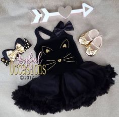 Check out this Cute Gold Glitter Cat Face Fluffy Black Pettiskirt Dress With Matching Cat Ears Headband For Ages 1 . If you are ordering for Halloween. The order deadline to receive it in time is Orders received after the will not be gu Cat Costumes, Halloween Costumes For Girls, Halloween Cat, Toddler Girl Parties, Toddler Girl Dresses, Toddler Girls, Kitten Party, Cat Party, Fiestas Peppa Pig