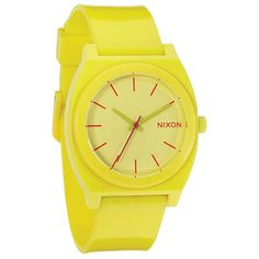 Nixon Time Teller Plastic Watch (4.085 RUB) ❤ liked on Polyvore featuring jewelry, watches, yellow, plastic crowns, plastic jewelry, nixon, plastic watches and nixon watches
