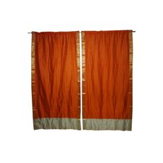 2PC ORANGE WHITE EID 2 SHADES Insulated Blackout Window Curtain Panels