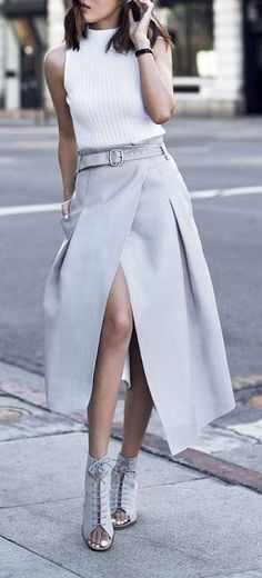 #street #style #casual #outfits #spring #outfit #ideas | White top + grey wrap skirt