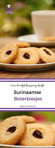 Surinaamse boterbiesjes, een heerlijk knapperig koekje met bovenop een rozijn of een krent. Surinaamse boterbiesjes zijn super makkelijk om zelf te maken. #recept #recepten