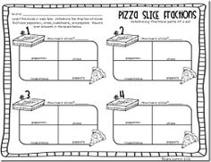 Another idea for pizza fraction centers.  Teacher creates 4 pizzas, students open the pizza box and determine the fraction of each topping