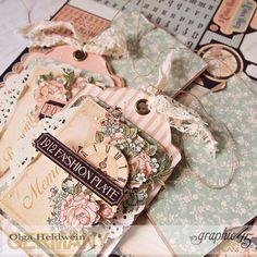 a ladies' diary, olga heldwein, graphic tags. Scrapbooking, Scrapbook Paper Crafts, Scrapbook Cards, Vintage Greeting Cards, Vintage Tags, Handmade Tags, Handmade Crafts, Scrapbook Embellishments, Vintage Crafts
