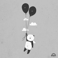 #ballon #panda #illustration