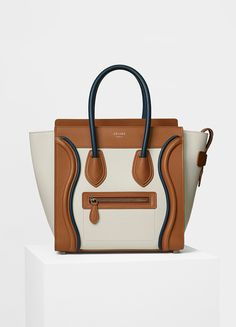 71dc874663 Micro Luggage Handbag in Smooth Calfskin with Piping - Céline Celine Micro  Luggage