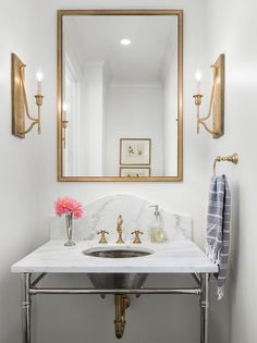 Brass mirror with marble top washstand